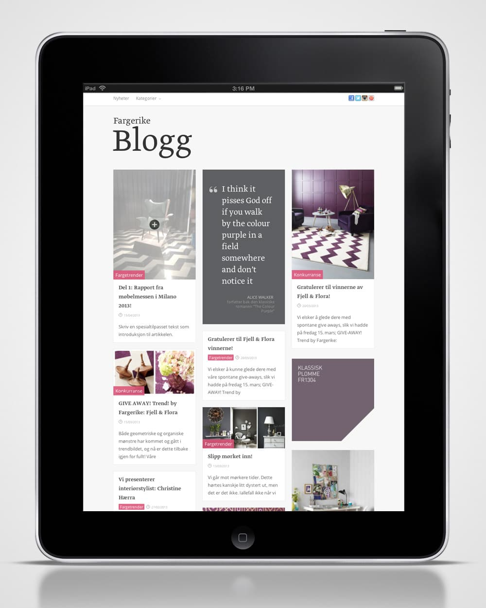 Fargerike / Blogg - ipad