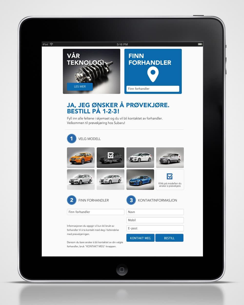 Subaru / Nettside - ipad