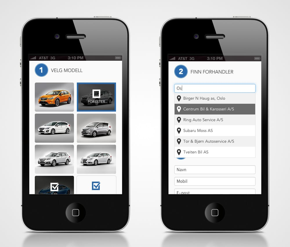 Subaru / Nettside - iphone