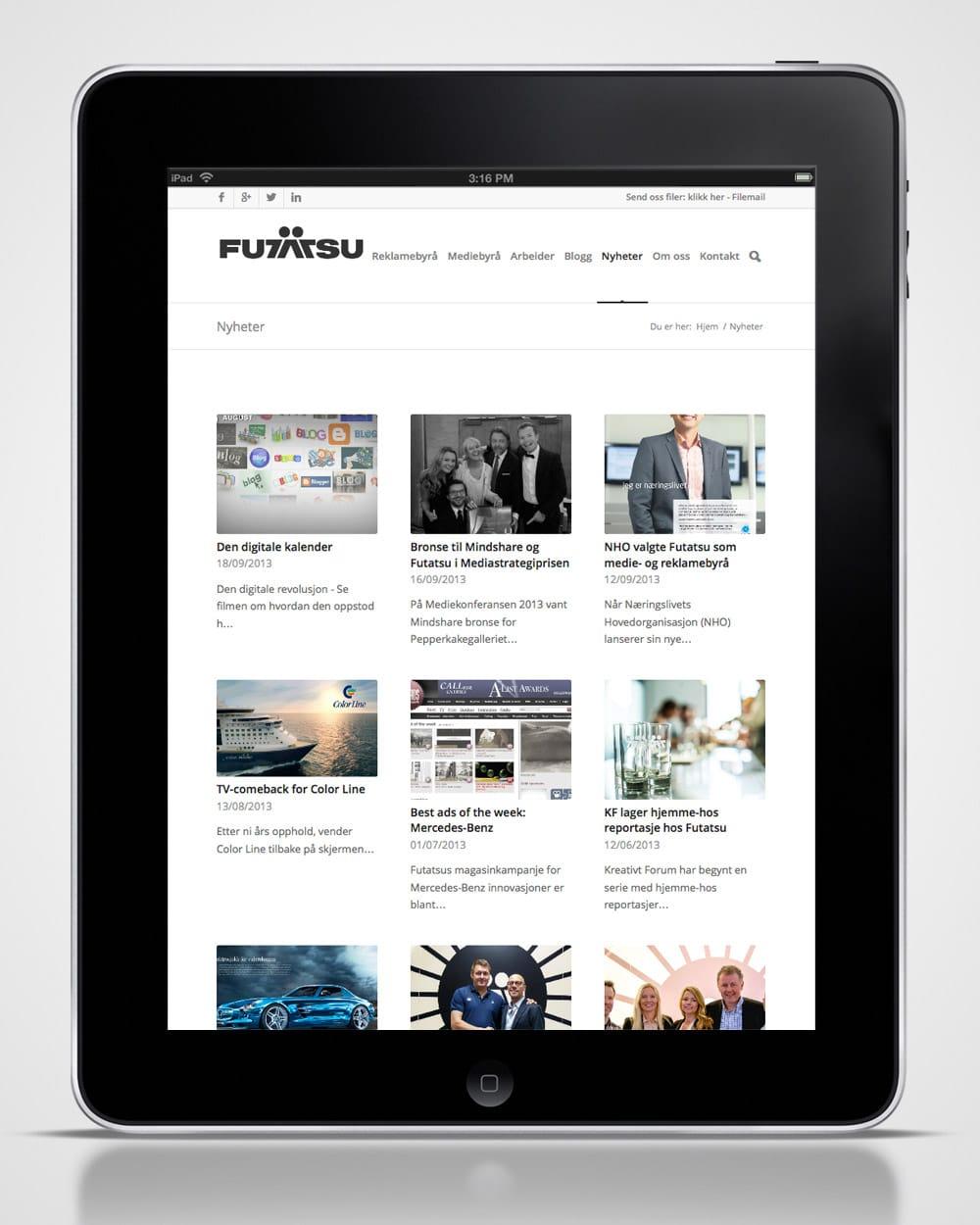Futatsu / Redesign nettside - ipad