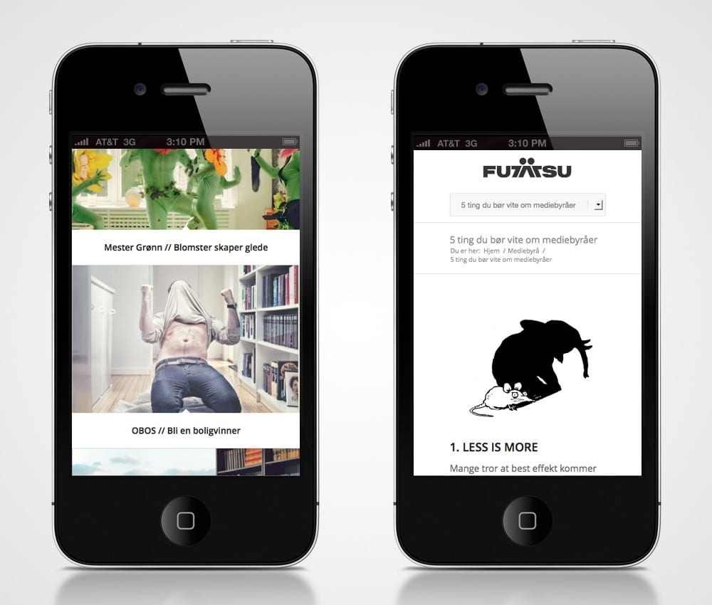 Futatsu / Redesign nettside - iphone